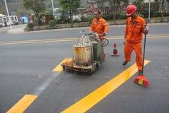 Das Straßenpersonal ist Abteilung der Verkehrslinie in SHENZHEN, CHINA Lizenzfreies Stockbild