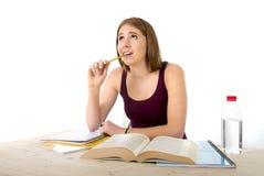 Das Studentmädchen, das für Hochschulprüfung studiert, sorgte sich im ermüdeten Druckgefühl und im Berstdruck Lizenzfreie Stockfotografie