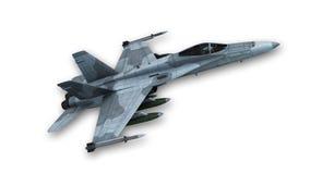 Das Superschallkampfflugzeug, das sich entfernt, planieren lokalisiert auf Weiß Stockfotos