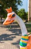 Das Symbol Bistrita-Stadt, der Strauß mit einem Hufeisen in seinem Schnabel Lizenzfreie Stockfotografie