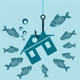 Das Symbol des Hauses auf einem Haken unter Wasser mit den Fischen Stockfotos