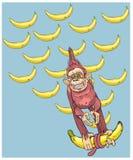 Das Symbol des Jahres - ein Affe mit Bananen, Eilen zu Ihnen Lizenzfreie Stockfotografie