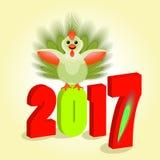 Das Symbol stellt einen jungen Hahn mit Federn grünen, flaumiges Endstück dar zwei tausend siebzehnte Zahlen mit 2017 Volumen Stockfotos