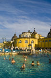 Das Szechenyi thermische Bad, Budapest Stockfotos