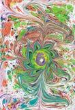 Das Türkische Ebru-Kunst Wasser wird gezeichnet, dann übertragen auf das Papier stock abbildung