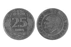 Das Türkische 25 Kurus-Münze Lizenzfreie Stockfotografie