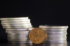 Das Türkische Kurush Gold Coin in den vorderen Silbermünzen Lizenzfreie Stockfotografie