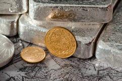 Das Türkische Kurush Gold Coin u. Silber Lizenzfreie Stockfotos