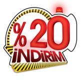 % 20 das Türkische-Rabatt-Skala-Prozentsatz Lizenzfreie Stockbilder