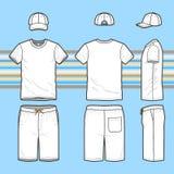 Das T-Shirt, Kappen- und Schwimmenkurze hosen der Männer eingestellt vektor abbildung