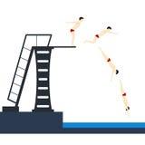 Das Tauchen in Pool teilt das Springen in Phasen ein Vektor lizenzfreie abbildung
