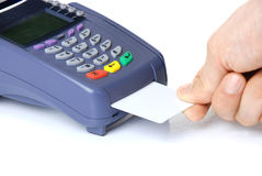 Das Terminal mit einer reinen Kreditkarte Stockbild
