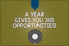 Das Textzeichen, das ein Jahr zeigt, gibt Ihre 365 Gelegenheiten Motivationsinspiration Kaffee Anfangs des Begriffsfotos frischer lizenzfreie abbildung