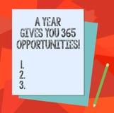 Das Textzeichen, das ein Jahr zeigt, gibt Ihre 365 Gelegenheiten Motivationsinspiration Stapel Anfangs des Begriffsfotos frischer stock abbildung