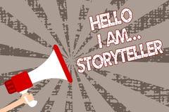 Das Textzeichen, das hallo bin mich zeigt storyteller Begriffsfoto, das als Romanartikelverfasser Man hält Megaphon sich vorstell lizenzfreie abbildung