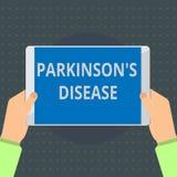 Das Textzeichen, das Parkinson s zeigt, ist Krankheit Begriffsfotonervensystemstörung, die Bewegung beeinflußt stock abbildung