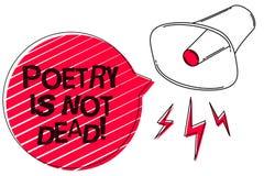 Das Textzeichen, das Poesie zeigt, ist nicht tot Ästhetisches und rhythmisches Schreiben des Begriffsfotos ist noch lebendige und stock abbildung