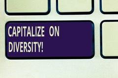 Das Textzeichendarstellen nützen Verschiedenartigkeit aus Begriffsfoto, das Arbeitskräfte mit unterschiedlicher Ethnie Tastatur z lizenzfreies stockfoto
