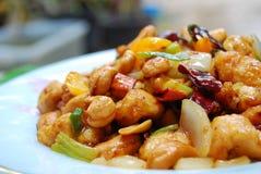 Das thailändische Lebensmittel, Aufruhr abgefeuert chickken mit Acajounüssen Lizenzfreie Stockfotos