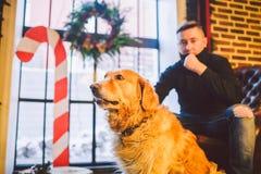 Das Thema ist die Freundschaft des Mannes und des Tieres Kaukasischer junger Mannes- und Schoßhundzucht Labrador-golden retriever lizenzfreies stockbild