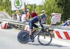 Das Tour de France 2014 Radfahrer-Johns Gadret- Lizenzfreie Stockfotos