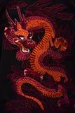Das traditionelle Symbol des roten Drachen von China stockbilder