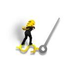 Das tragende Goldeurozeichen, das auf Gelduhrhand balanciert, lokalisierte i Stockfoto
