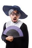 Das tragende Nonnenkostüm des Mannes lokalisiert auf Weiß Lizenzfreies Stockfoto