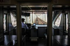 Das transparente Osaka-U-Bahnsystem, zentrales Osaka, Nakanoshima-Insel, Japan, stockfoto