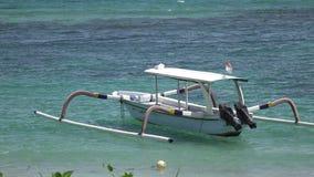 Das tropische Seebad, der Strand und Boote im Ozean am sonnigen Tag stock video