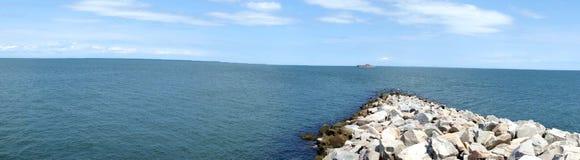 """Das Tunnel Chesapeake Bays Bridge†""""von oben lizenzfreie stockbilder"""