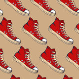 Das Turnschuhmuster der Skizze der Vektorillustration Hand gezeichnete rote für Design Lizenzfreies Stockfoto