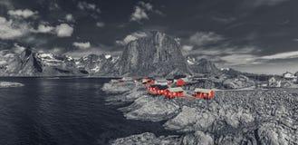 Das typische norwegische Fischerdorf von Reine With The typisch Stockfoto