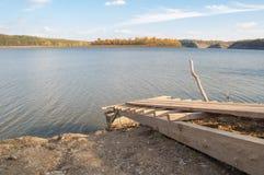Das Ufer des Flusses Dnister Stockbild