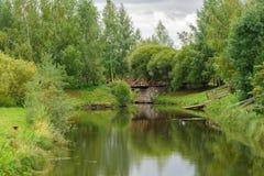 Das Ufer des Sees wird durch Bäume im ruhigen Wetter im Herbst umgeben Lizenzfreies Stockbild