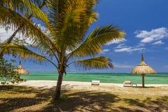 Das Ufer von einer Tropeninsel mit Palmen und weißem Sand Stockfotografie