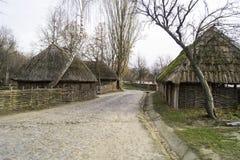 Das ukrainische Dorf des 17. Jahrhunderts Stockbild