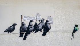 Das umstrittene Kunstwerk Künstler Banksy Stockbild