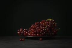 Das uvas vida roxa ainda no fundo preto Fotos de Stock
