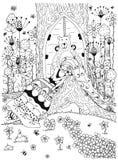 Das Vektorillustration zentangl Frauenmädchen, das unter Baum ithe Waldgekritzeltieren, Blumen schläft, tragen die Tür Stockfotos
