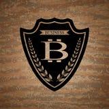 Das Vektorschild mit bitcoin Symbol vektor abbildung