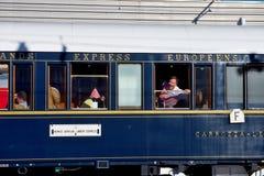 Das Venedig Simplon-Orient-ausdrücklich - nervöser Passagier Stockfotografie
