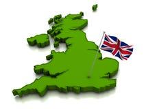 Das Vereinigte Königreich - Karte und Markierungsfahne Lizenzfreie Stockfotos