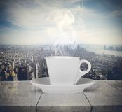 Das Vergnügen des Kaffees lizenzfreie stockfotografie