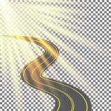 Das Verschwinden in den Abstand die Straße wird im Sonnenlicht gebadet Sonnenlichtdesign 3. Mai internationaler Tag des Sun Lizenzfreies Stockfoto