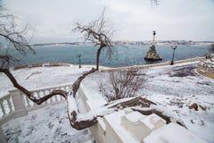 Das versunkene Schiffs-Monument, Symbol von Sewastopol, Krim, Ukraine Lizenzfreie Stockfotos