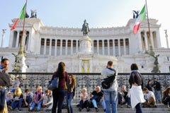 DAS VIKTORIANISCHE, VITTORIO EMANUELE-MONUMENT, VENEDIG-PIAZZA, ROM-` S HISTORISCHE MITTE, ITALIEN lizenzfreies stockbild