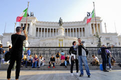 DAS VIKTORIANISCHE, VITTORIO EMANUELE-MONUMENT, VENEDIG-PIAZZA, ROM-` S HISTORISCHE MITTE, ITALIEN stockbild