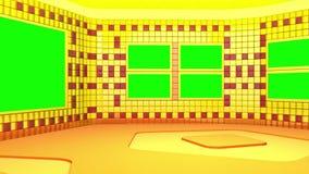 Das virtuelle Rundfunkstudio mit grünem Schirmbereich Kamerabewegung ist enthalten lizenzfreie abbildung