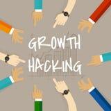 Das Wachstum, das Geschäftsmethodekonzept der Anwendung ihres Wissens des Produktes und der Verteilung zerhackt, findet scharfsin Stockbild